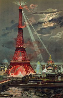 Illumination of the tower at night during the exposition