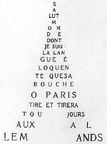 A calligram by Guillaume Apollinaire